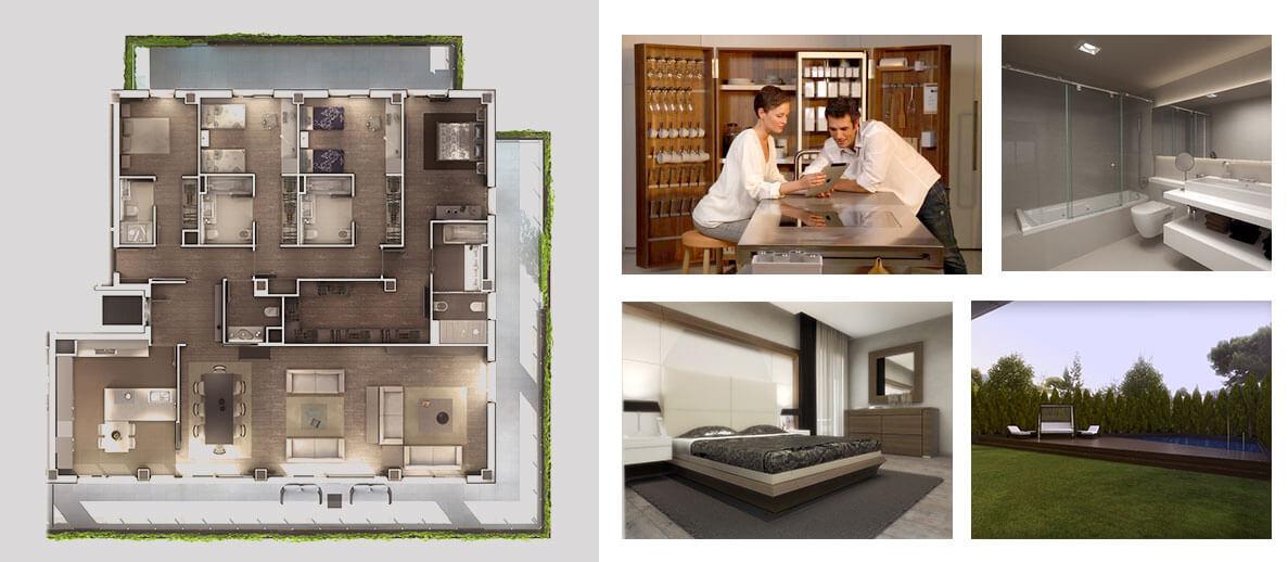 планировка апартаментов 5 спален. элитная недвижимость в барселоне
