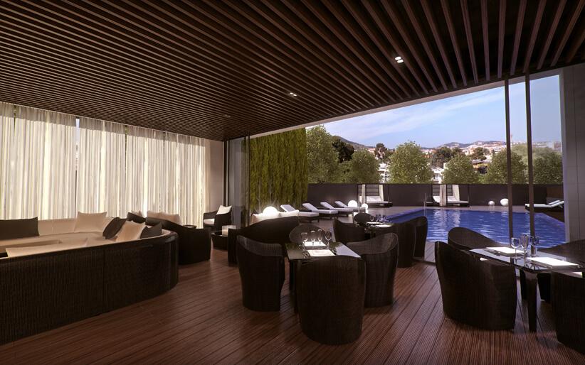 Chill-out в жилом комплексе ONE PEDRALBES HOUSE. Купить квартиру в барселоне, лучшая инвестиция в будущее.