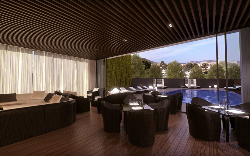 Imagen interior de Chill out del conjunto de pisos Pedralbes One Pedralbes House. Mejores pisos en Pedralbes de zona alta Barcelona