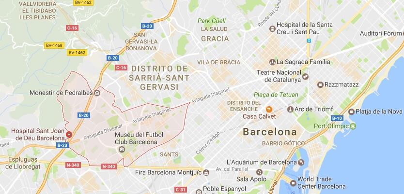 Карта Лес Кортс по районам, Недвижимость в Барселоне где лучше купить недвижимость в Барселоне