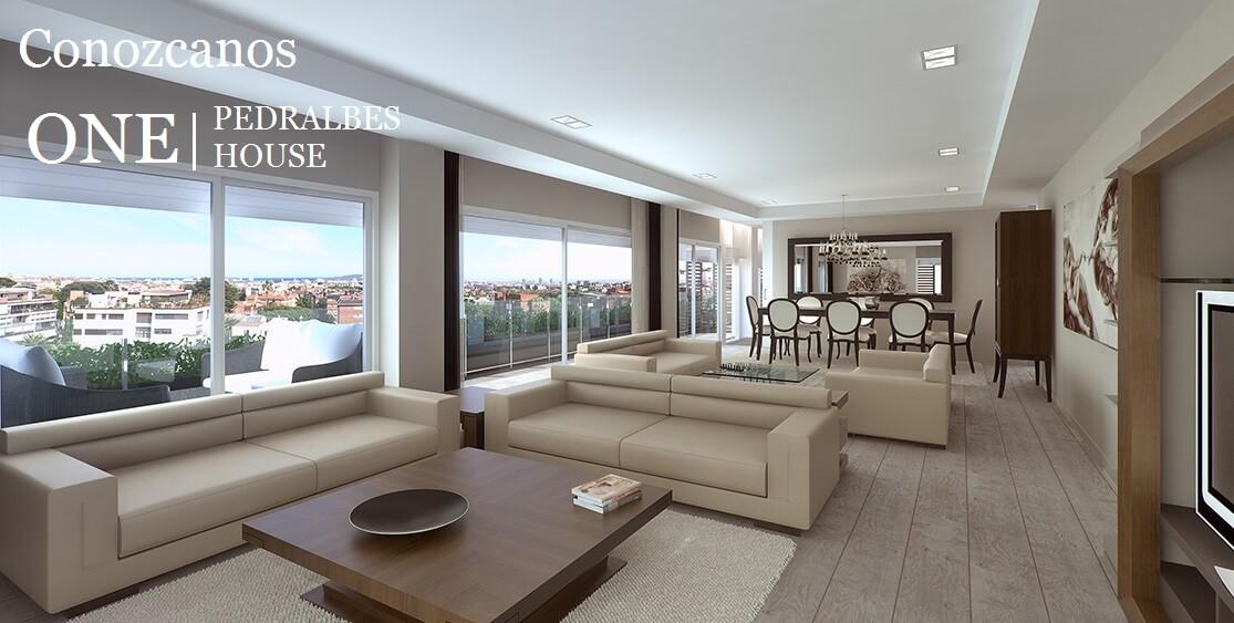 Pisos de lujo en Barcelona, salon comedor de vivienda en One Pedralbes House