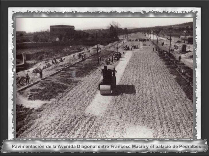 Pisos en Pedralbes, imagen antigua de la pavimentacion Avenida Diagonal