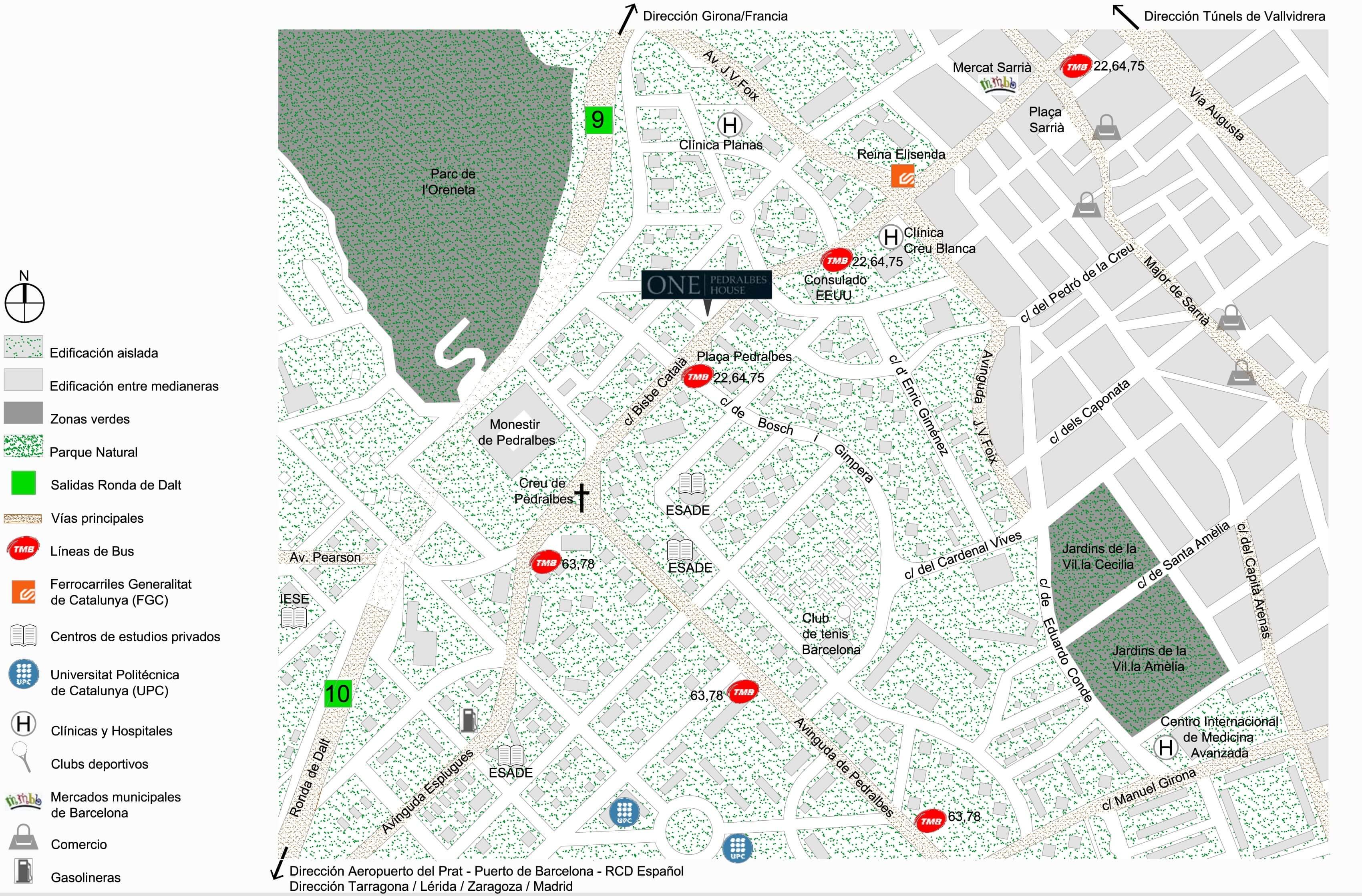 Карта Педральбеса. Квартиры в Барселоне в лучшем районе.