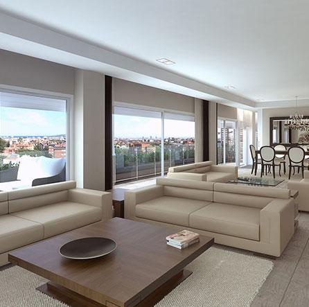Salon de los pisos One Pedralbes House, rodeados de pisos Pedralbes en pisos zona alta Barcelona. Casas en Pedralbes
