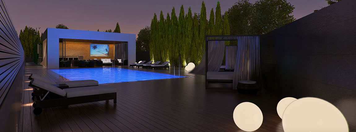 Outdoor swimming pool in luxury real estate barcelona