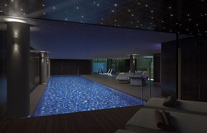 Luxury real estate barcelona, practice swimming in its indoor pool