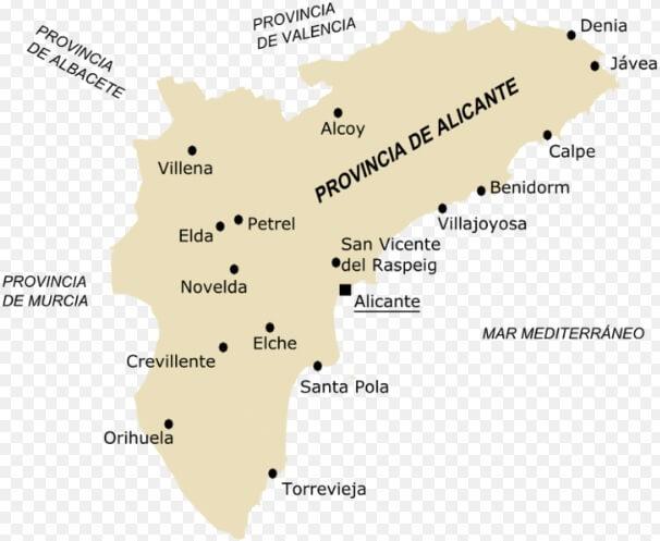 Карта Коста Бланка Испания. Провинция Альканте. Купить недвижимость в Испании у моря