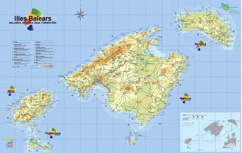 Карта Балеарские острова. Купить квартиру в Испании. Дом в Испании