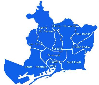Карта Барселоны по районам. Ищу недвижимость в Барселоне